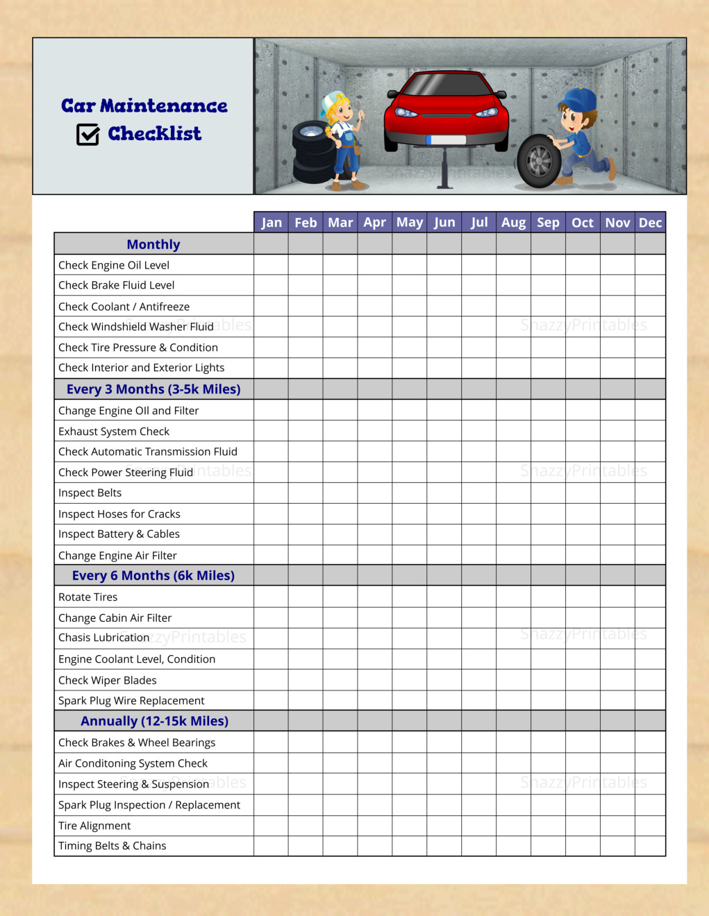 Car Maintenance Checklist - Instant Download PDF