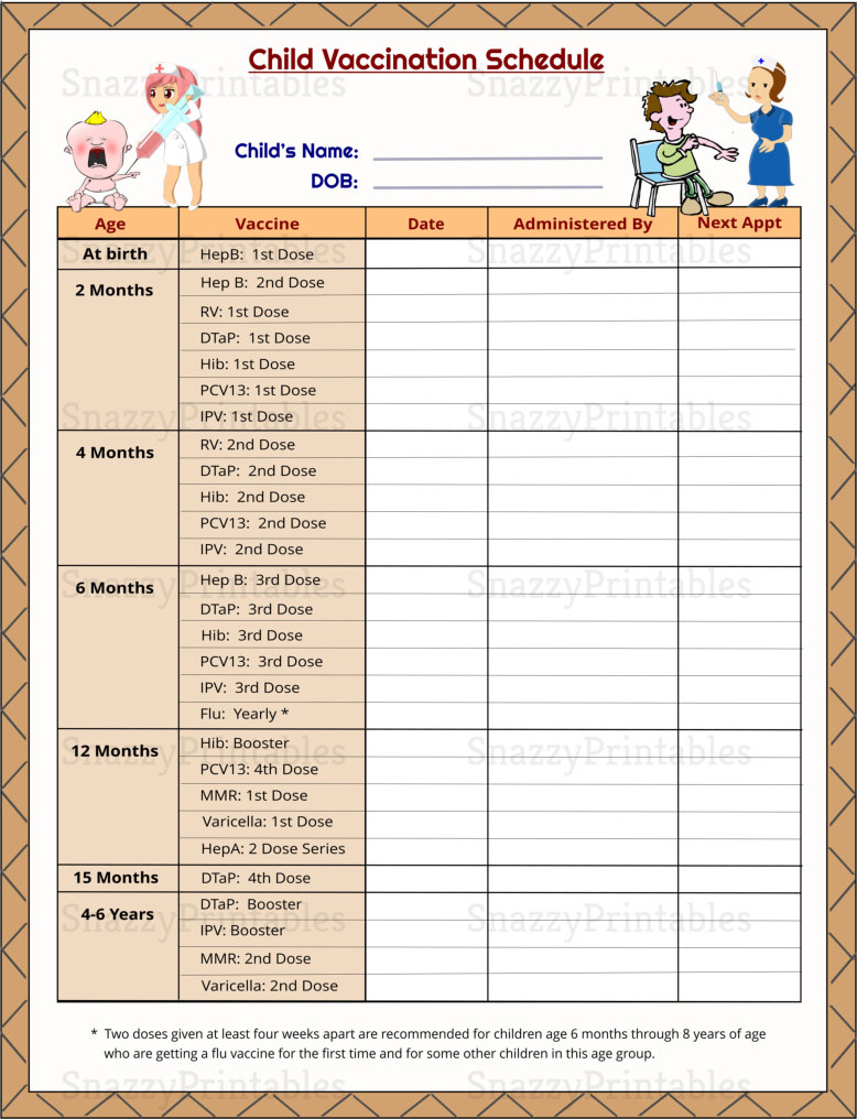 Child Vaccination Schedule Printable - Instant Download PDF