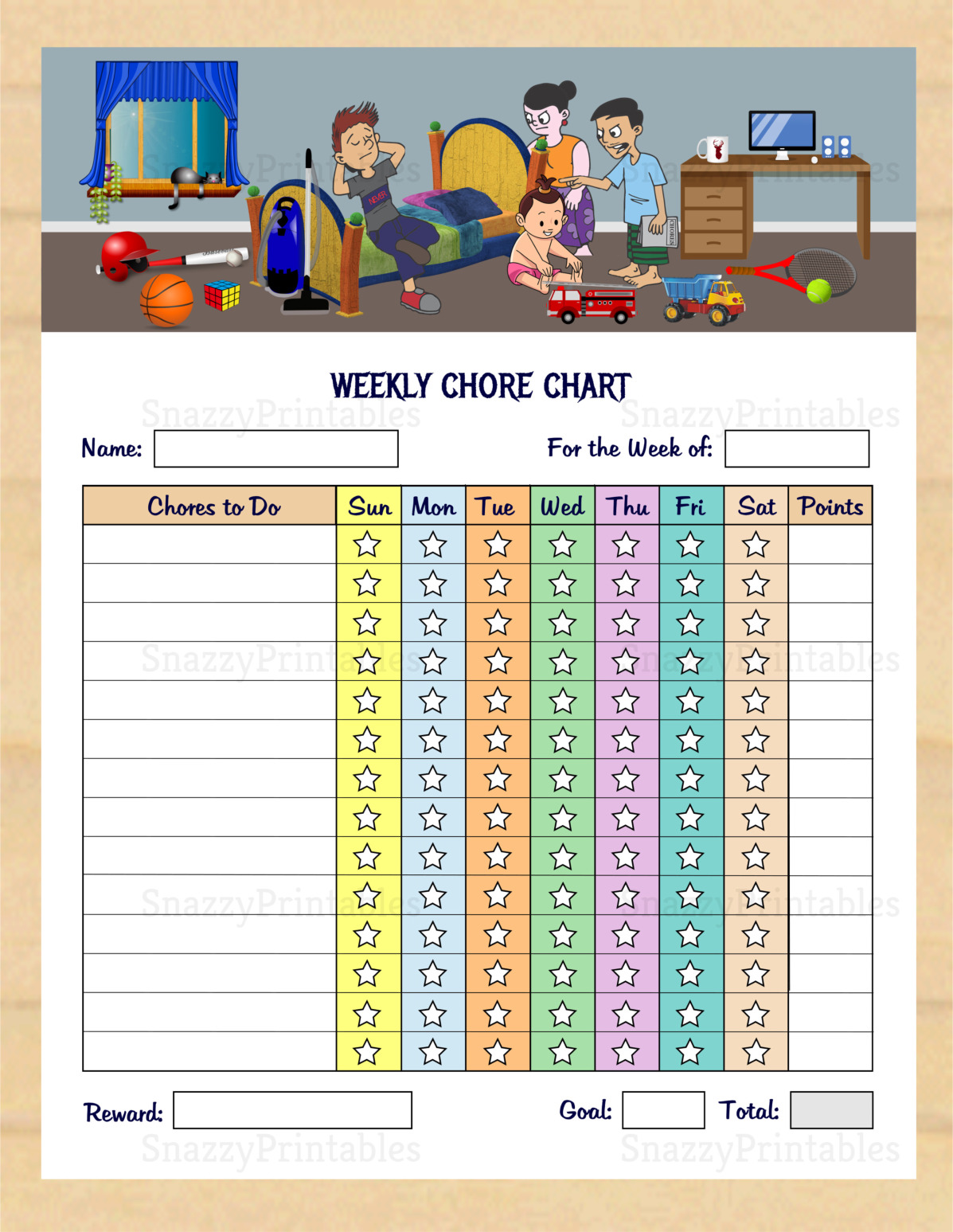 Kids Chore Chart Printable - Instant Download PDF