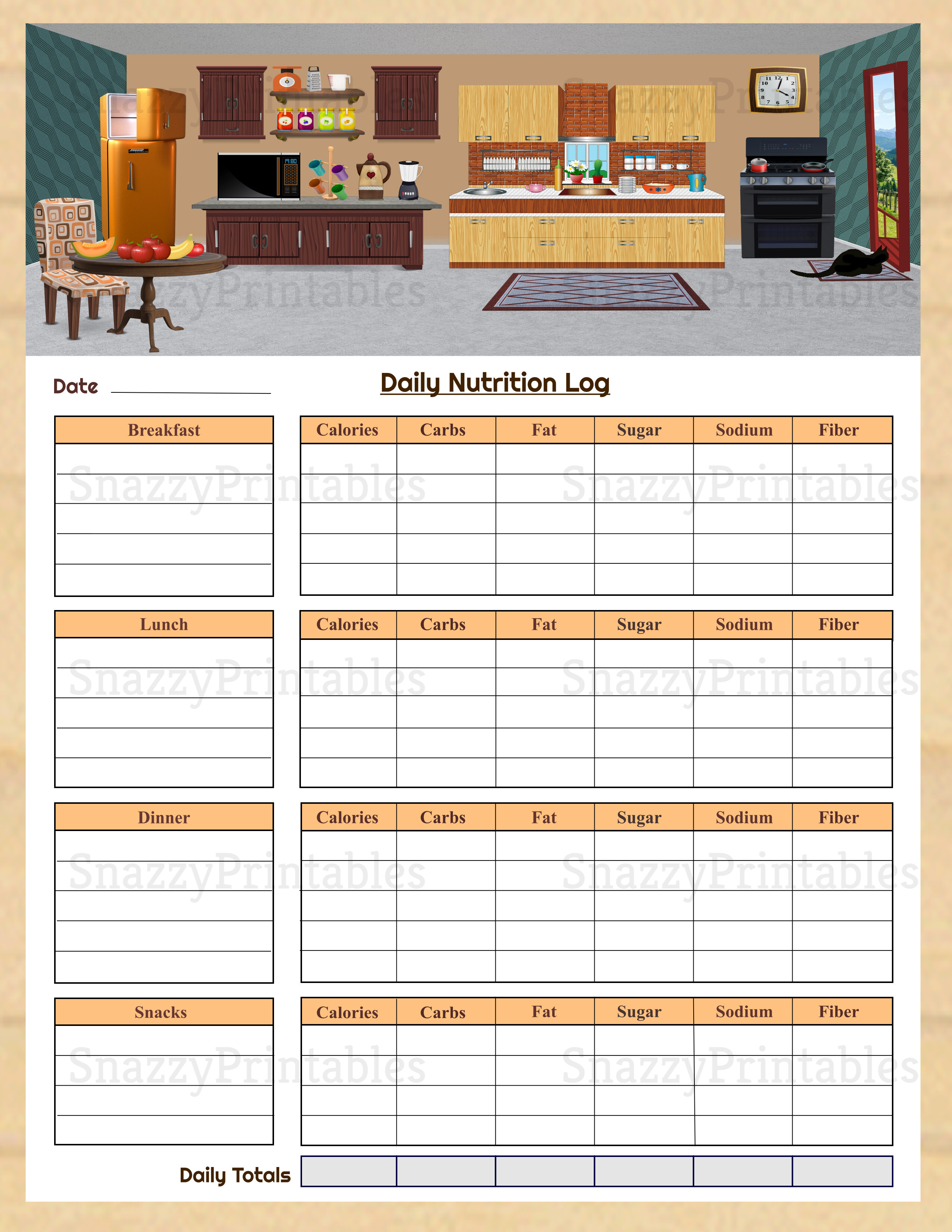 Daily Nutrition Log Printable - Instant Download PDF