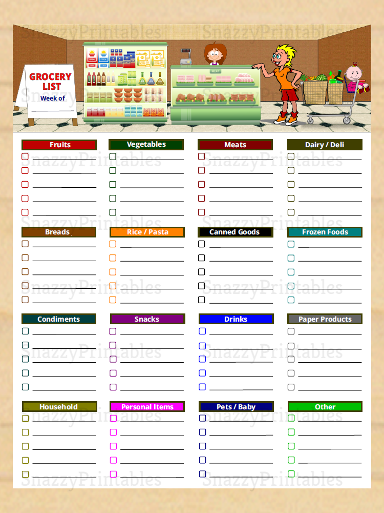 Printable Grocery List with Categories - Instant Download PDF
