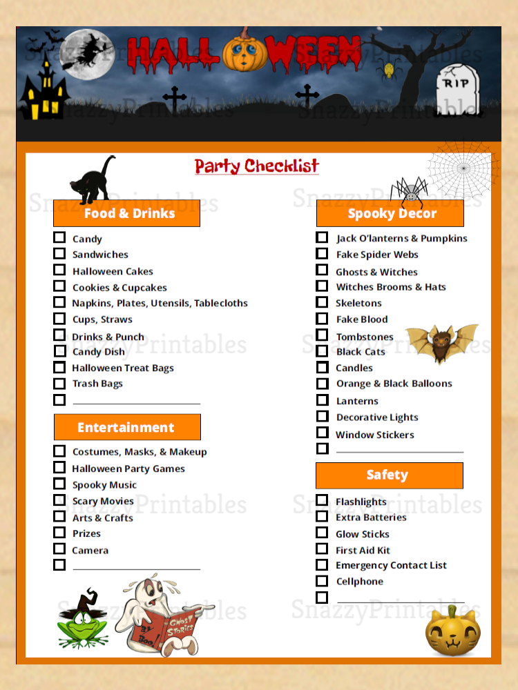 Halloween Party Checklist Printable - Instant Download PDF