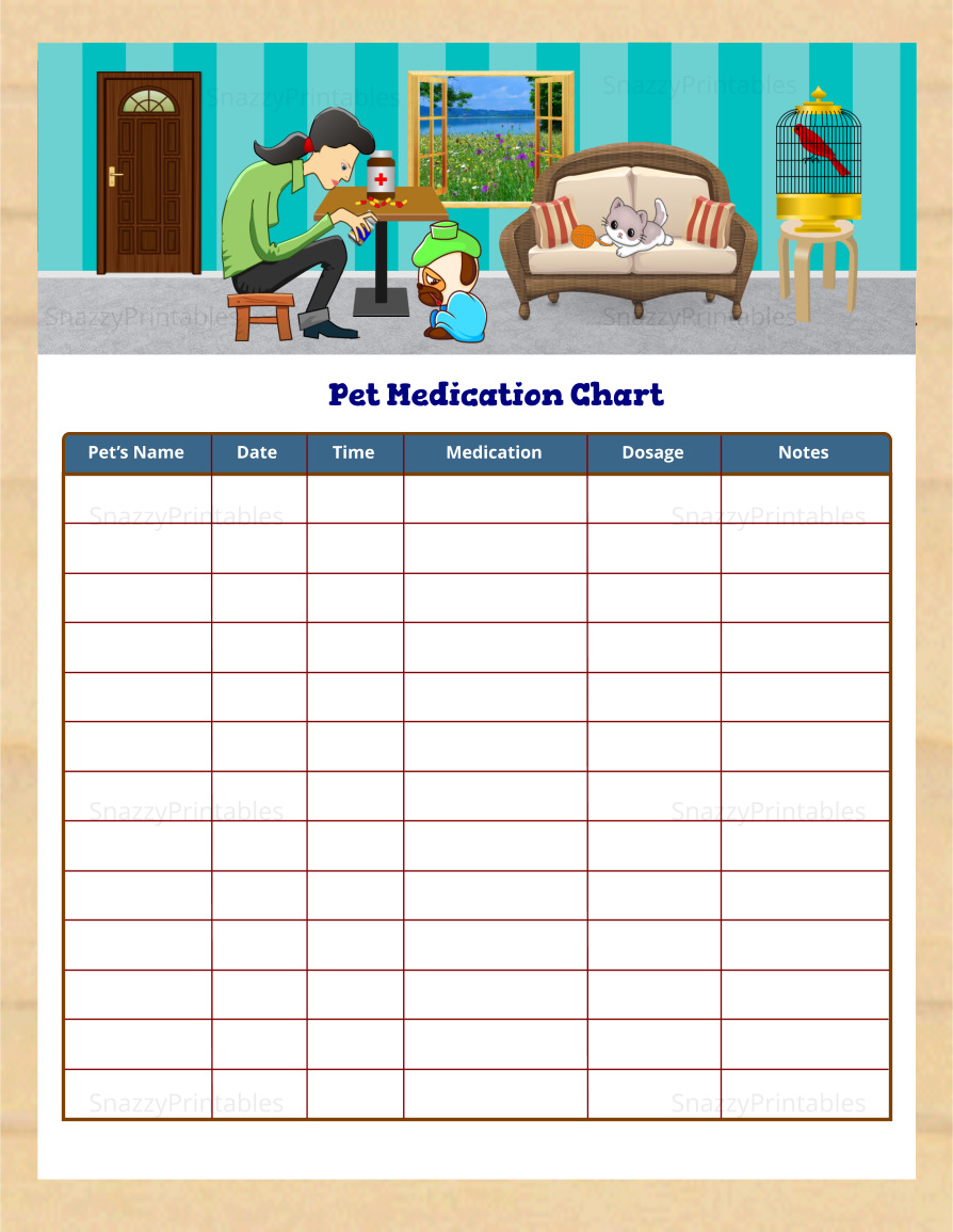 Pet Medication Chart 1 Printable - Instant Download PDF