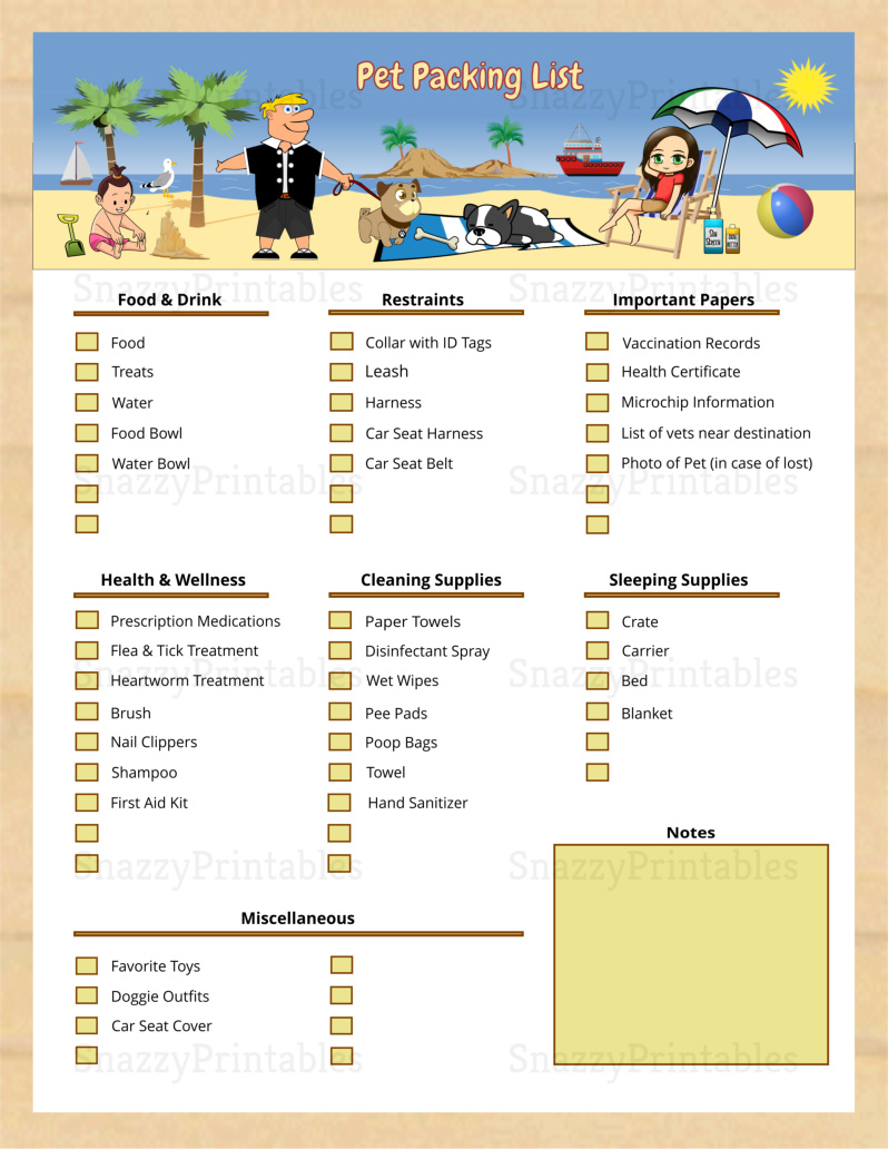 Pet Packing List Printable - Instant Download PDF