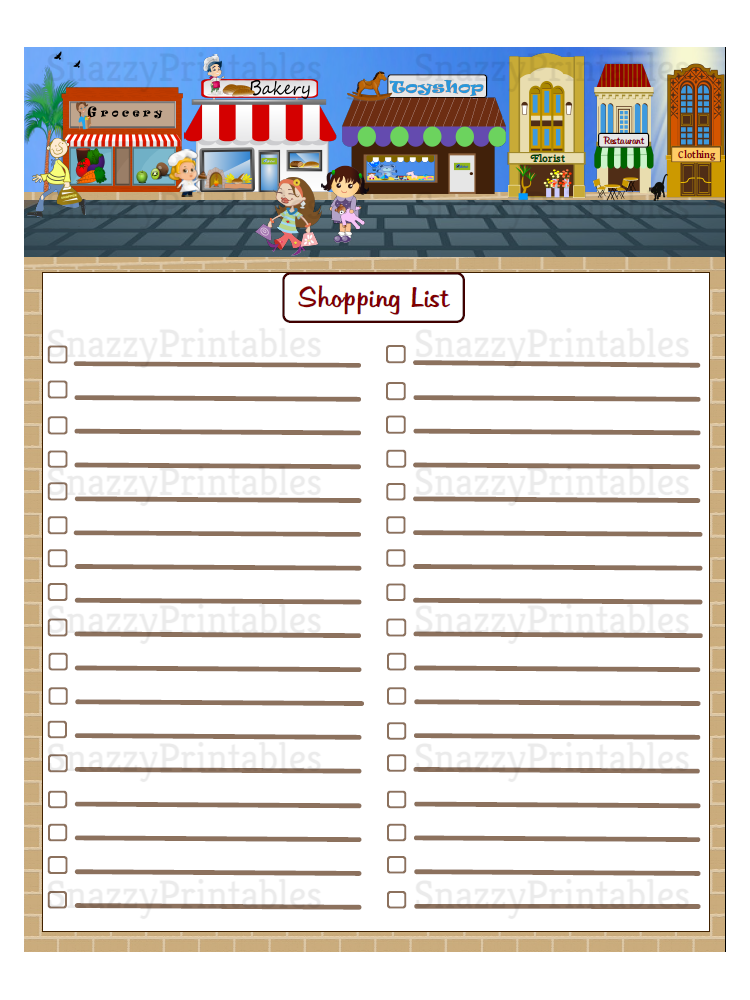 Shopping List Printable - Instant Download PDF