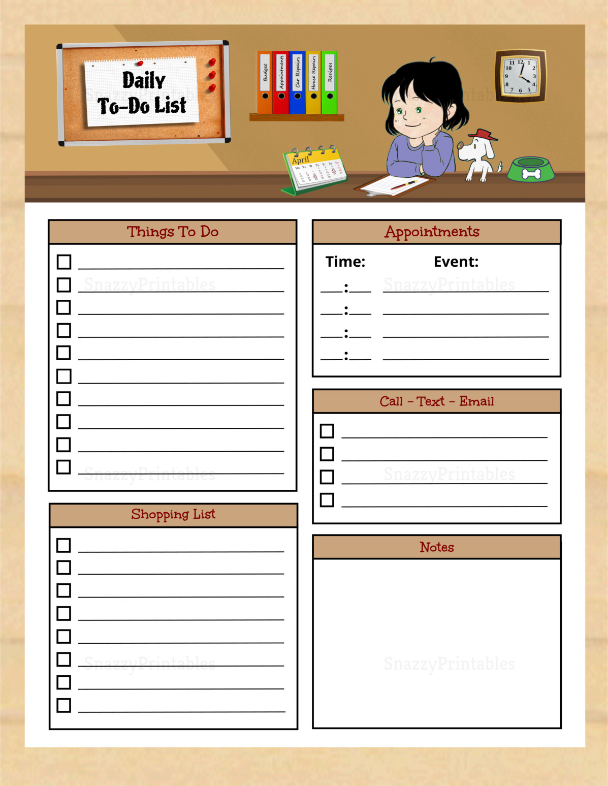 Daily To-Do List Printable - Instant Download PDF