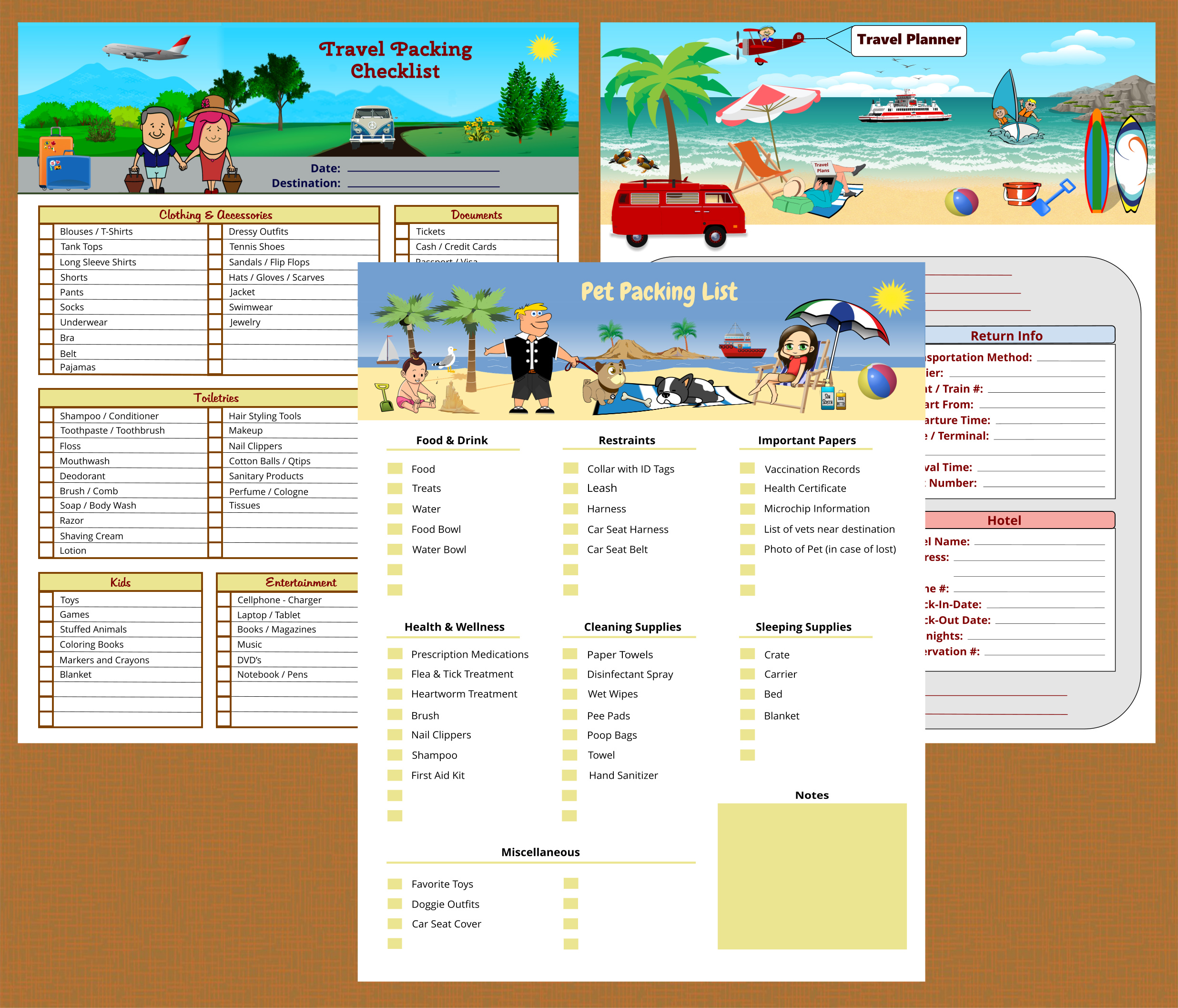 Travel Planning Kit Printables - Instant Download PDF