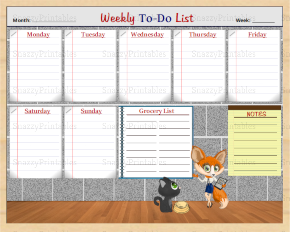 weekly printable to-do list - instant download pdf | snazzy printables