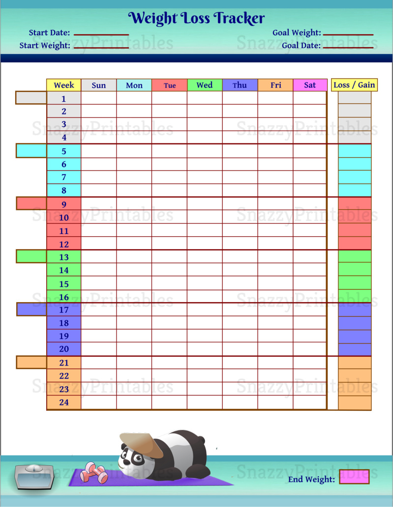 Weight Loss Tracker Printable - Instant Download PDF