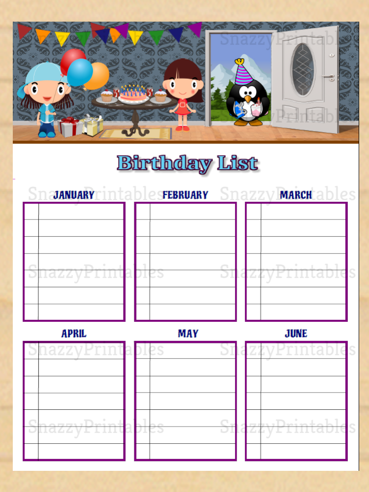 Birthday List Printable - Instant Download PDF