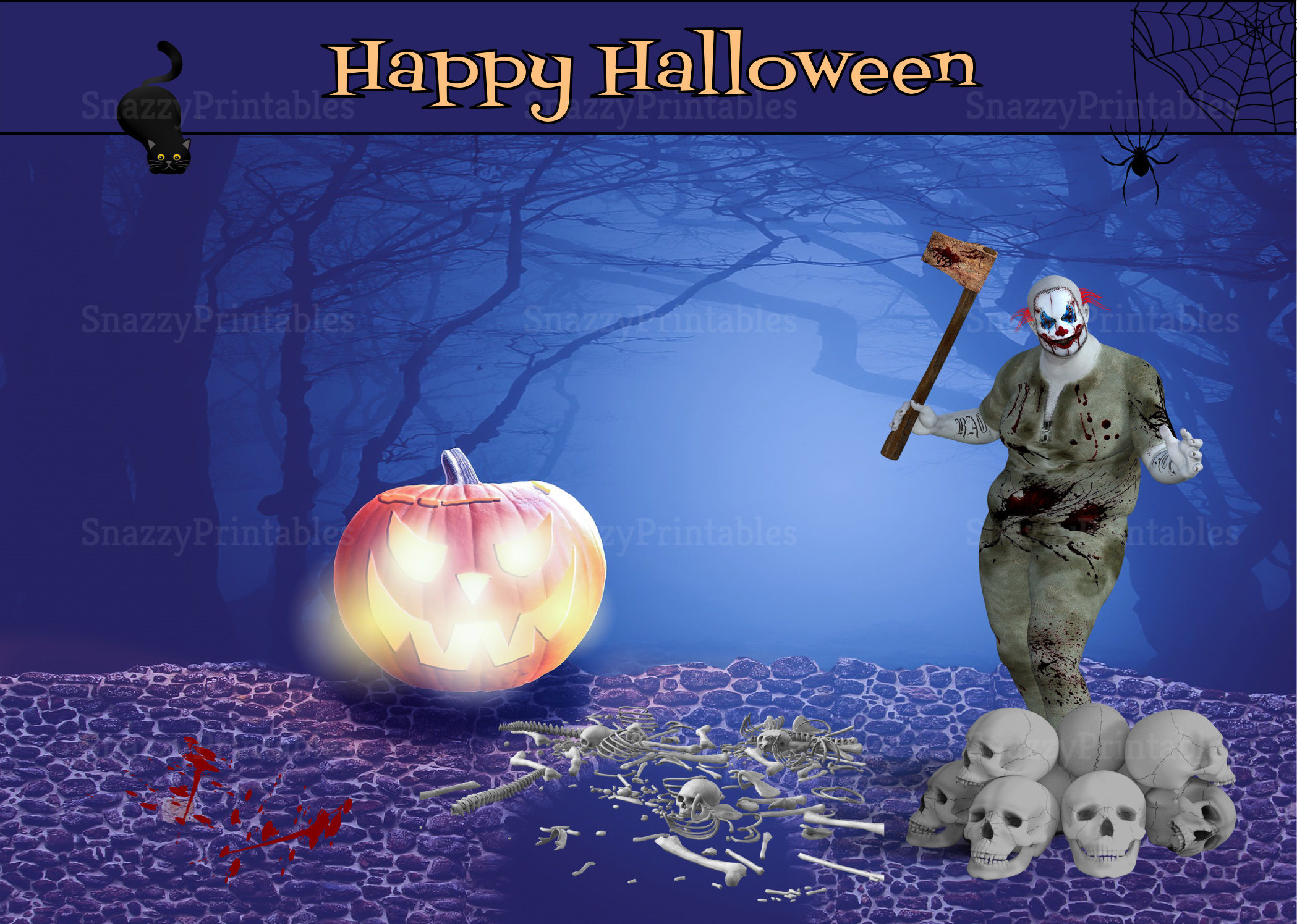 Halloween Greeting Card - Instant Download PDF