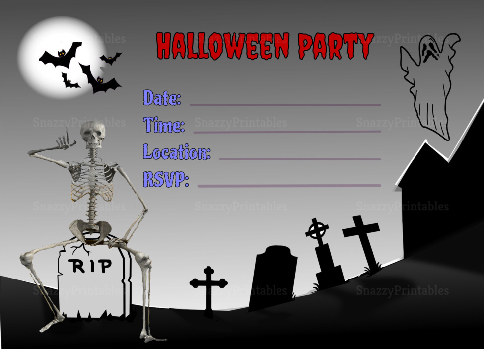 Halloween Party Invitation Printable 3 - Instant Download PDF