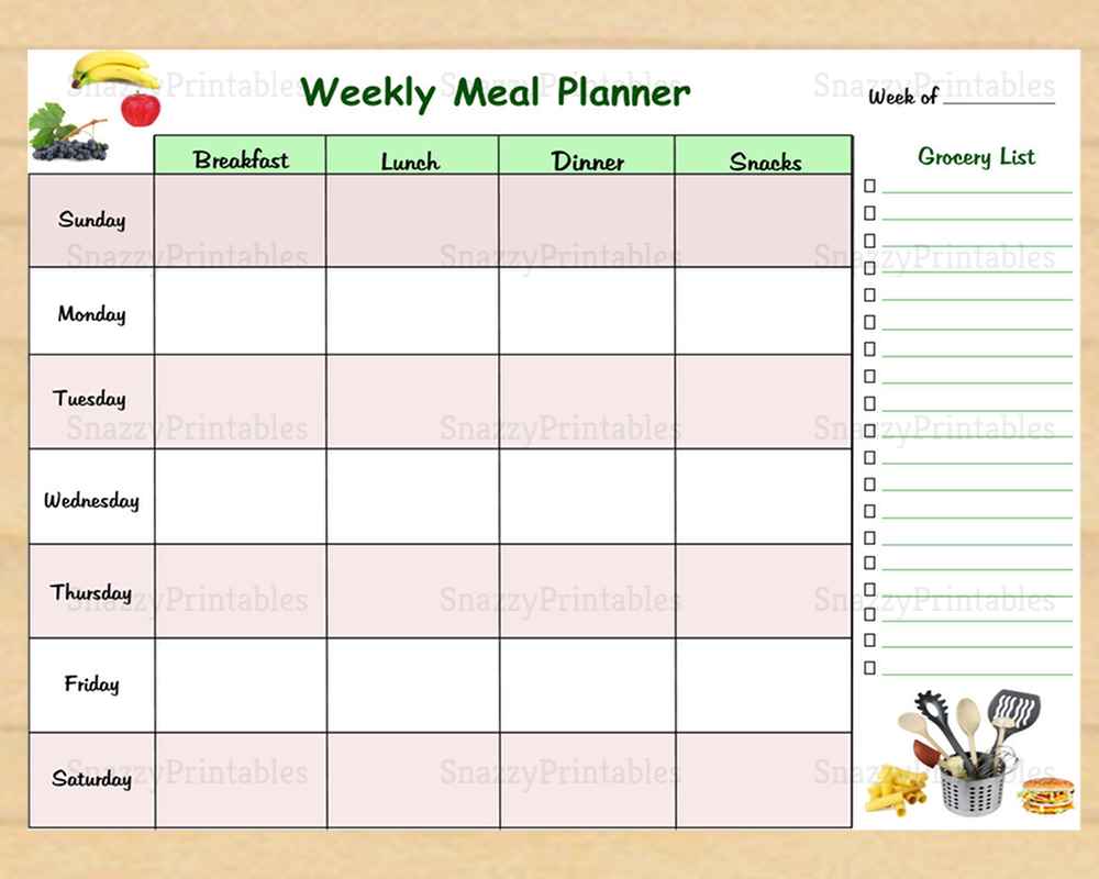 Weekly Meal Planner with Grocery List - Instant Download PDF