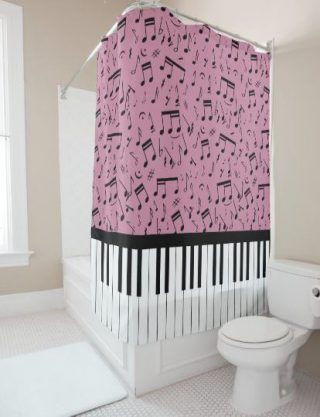 Stylish piano keys and music notes shower curtains