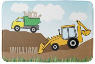 Yellow Backhoe and Dump Truck Personalized Bath Mat