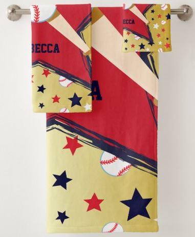 Personalized Baseball Bats Ball and Stars Gold Bath Towel Set