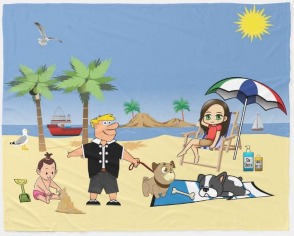 Beach Fun - Pug Givin' the Dog a Bone Fleece Blanket