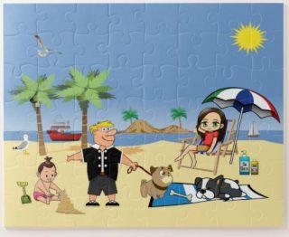 Beach Fun - Pug Givin' the Dog a Bone Jigsaw Puzzle