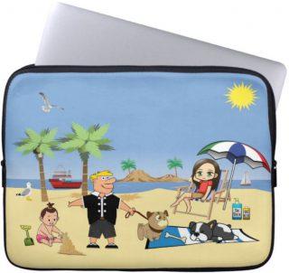 Beach Fun - Pug Givin' the Dog a Bone Laptop Sleeve