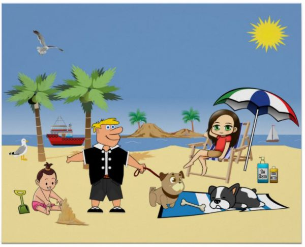 Beach Fun - Pug Givin' the Dog a Bone Poster