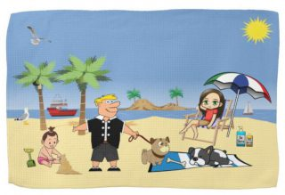 Beach Fun - Pug Givin' the Dog a Bone Kitchen Towel