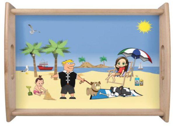 Beach Fun - Pug Givin' the Dog a Bone Serving Tray