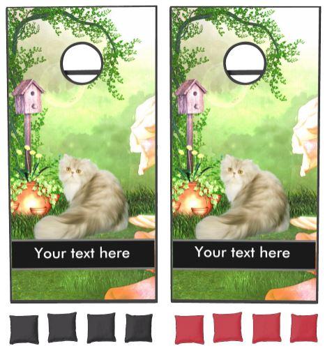 Cute cat cornhole set