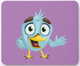 Charming Cartoon Blue Bird on Purple Mouse Pad