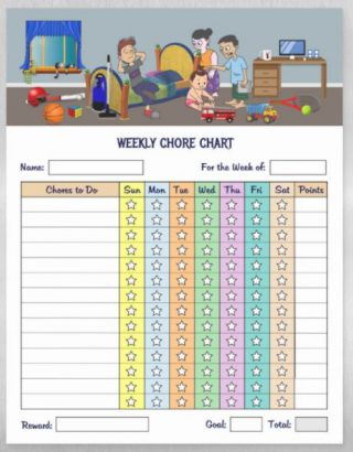 Kids Weekly Chore Chart - Notepad