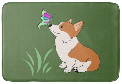 Corgi with Butterfly Bathroom Mat