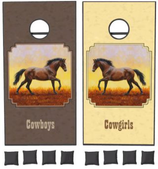 Dark Bay Running Horse Taupe Cornhole Set