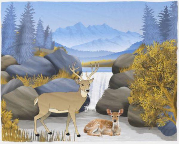Deer in the Snowy Mountains Fleece Blanket