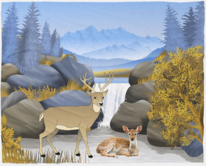 Deer in the Snowy Mountains Fleece Blanket