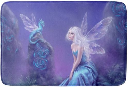 Luminescent Fairy & Dragon Art Bathroom Mat