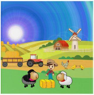 Cute Farmhouse, Sheep, and Chicks Acrylic Wall Art