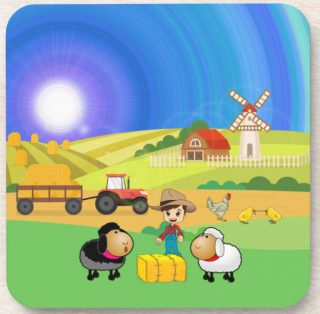 Cute Farmhouse, Sheep, and Chicks plastic coaster