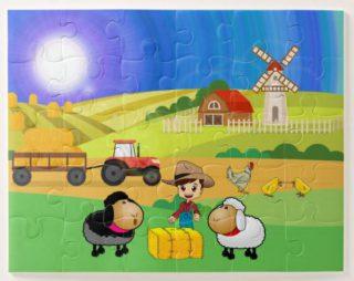 Cute Farmhouse, Sheep, and Chicks Jigsaw Puzzle