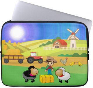 Cute Farmhouse, Sheep, and Chicks Laptop Sleeve
