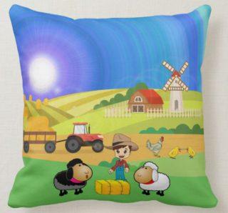 Cute Farmhouse, Sheep, & Chicks Throw Pillow