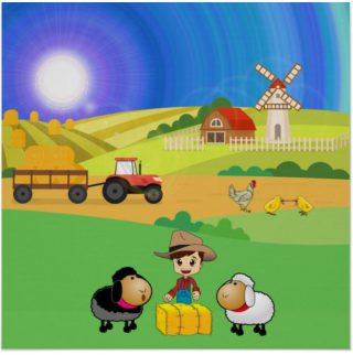 Cute Farmhouse, Sheep, and Chicks Poster