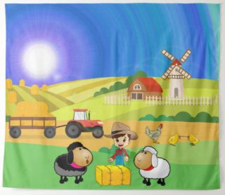 Cute Farmhouse, Sheep, and Chicks Tapestry