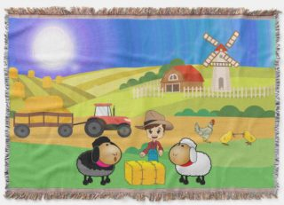 Cute Farmhouse, Sheep, and Chicks Throw Blanket