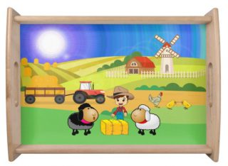 Cute Farmhouse, Sheep, and Chicks Serving Tray