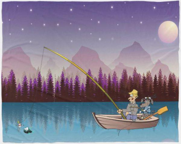 Fishing in the Moonlight Fleece Blanket