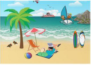 Kids Sailing, Mom Sun Tanning - Fun Beach Vacation Acrylic Print