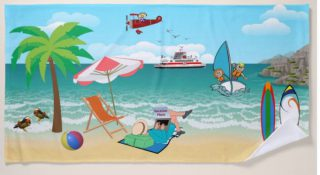 Kids Sailing, Mom Sun Tanning - Fun Beach Vacation Beach Towel