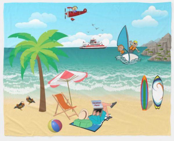 Kids Sailing, Mom Sun Tanning - Fun Beach Vacation Fleece Blanket