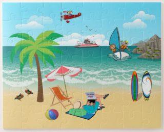 Kids Sailing, Mom Sun Tanning - Fun Beach Vacation Jigsaw Puzzle