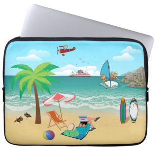 Kids Sailing, Mom Sun Tanning - Fun Beach Vacation Laptop Sleeve