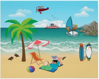 Kids Sailing, Mom Sun Tanning - Fun Beach Vacation Poster